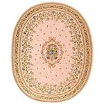 ブーケ柄ゴブラン織カーペット/絨毯 【楕円形/約190×240cm ピンク】 ホットカーペットカバー・床暖房対応 すべりにくい加工
