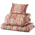 日本製羊毛100% 布団セット ダブル 4点セット(掛布団・敷布団・枕×2) ピンク