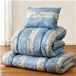 日本製制菌寝具セット ダブル 4点セット(掛布団・敷布団・枕×2) ブルー