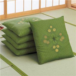 銘仙判座布団 5枚組 グリーン 日本製 - 拡大画像