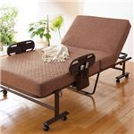 立ち座り安心こだわり仕様の折りたたみベッド バランスマットタイプ ベージュ 完成品