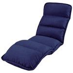 収納簡単 低反発 座椅子/フロアチェア 【スリムタイプ ネイビー】 約幅55cm 折りたたみ スチールパイプ ウレタンフォーム