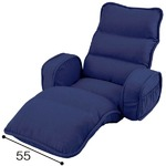 収納簡単 低反発 座椅子/フロアチェア 【ひじ付タイプ ネイビー】 約幅74cm 折りたたみ スチールパイプ ウレタンフォーム