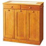 ダストボックス/ゴミ箱 15リットル 3分別 ライトブラウン ゴミ箱付き 完成品