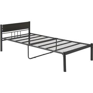 【ベッド通販 おすすめ】シンプル 可動宮付き ベッド シングル (フレームのみ) ブラック スチール ベッドフレーム 〔引っ越し 一人暮らし〕