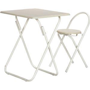 シンプル テーブル&チェアーセット 【ホワイト】 机:幅70cm 折りたたみ スチールフレーム 【完成品】 〔引っ越し 一人暮らし〕