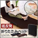折りたたみベッド 【シングルサイズ/ブラウン】 低反発マットレス付き 『Levita』 14段階リクライニング 取っ手/キャスター付き