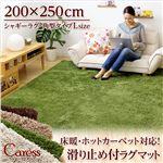 シャギーラグマット/絨毯 【Lサイズ/グリーン】 200cm×250cm 『Caress』 滑り止め付き 洗える 床暖房・ホットカーペット対応