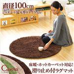 シャギーラグマット/絨毯 【円形 Sサイズ/ブラウン】 直径100cm 『Caress』 滑り止め付き 洗える 床暖房・ホットカーペット対応