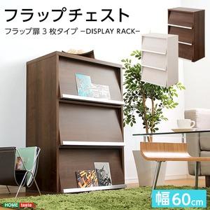 収納家具【DEALS-ディールズ-】 フラップ扉3枚タイプ ウォールナット