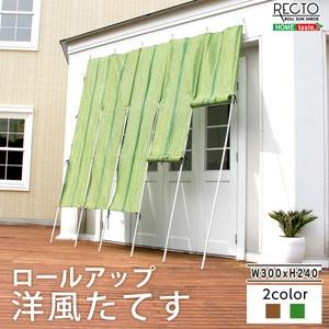 洋風たてす/サンシェード 【幅300cm×高さ240cm】 グリーン ロールアップ可 『RECTO』 洗える 〔日差し対策 省エネ 目隠し〕