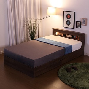宮付き 照明付き 収納付きベッド シングル プレミアムボンネルコイルマットレス付き ウォールナット 『SOMUNIUM』 - 拡大画像