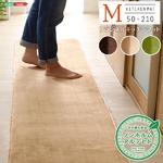 洗える キッチンマット/絨毯 【Mサイズ 50×210cm/モカ】 高密度フランネルマイクロファイバー 『Naltorea-ナルトレア-』