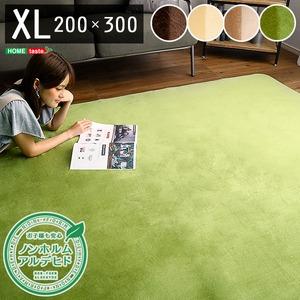 洗える ラグマット/絨毯 【×Lサイズ 200×300/イエローベージュ】 高密度フランネルマイクロファイバー 『ナルトレア』