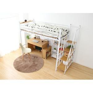 階段付き 宮付き コンセント付き ロフトベッド シングル (フレームのみ) ホワイト 『RESIDENCE-レジデンス-』 ベッドフレーム