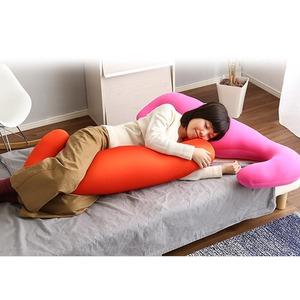 ビーズクッション/抱きまくら 【ロングタイプ/グレー】 流線形 日本製 『Dugong-ジュゴン-』 - 拡大画像