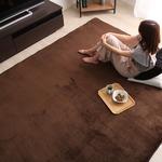 高密度マイクロファイバー・低反発ラグマットMサイズ(190×190cm)ホットカーペット、床暖房対応 リウル ブラウン