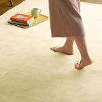 高密度マイクロファイバー・低反発ラグマットMサイズ(190×190cm)ホットカーペット、床暖房対応 リウル イエローベージュ