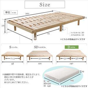 3段階高さ調節 国産総檜脚付きすのこベッド 【Pierna-ピエルナ-】(ポケットコイルロールマットレス付き) ダブル ナチュラル