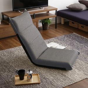 シンプルボリューム ハイバック座椅子 グレー 完成品 - 拡大画像