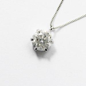 純プラチナ0.9ctダイヤモンドペンダント/ネックレス ベネチアンチェーン - 拡大画像
