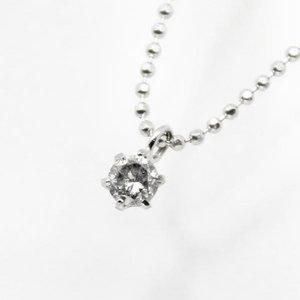 純プラチナ0.1ct6爪ダイヤモンドペンダント/ネックレス - 拡大画像