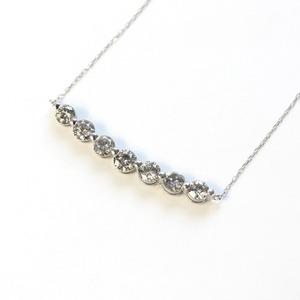 プラチナ1ctダイヤモンド7ストーンラインペンダント - 拡大画像