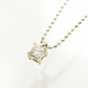 純プラチナ台プリンセスカット0.15ctライトイエローダイヤモンドペンダント/ネックレス - 拡大画像