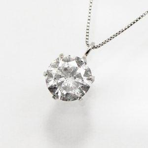 プラチナ0.8ctダイヤモンド一粒石ペンダント - 拡大画像