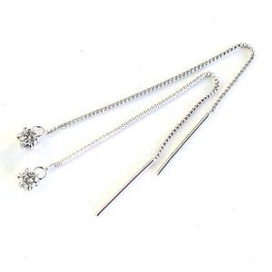 プラチナダイヤモンドピアス PT900&0.1ctダイヤモンドショートアメリカンチェーンピアス