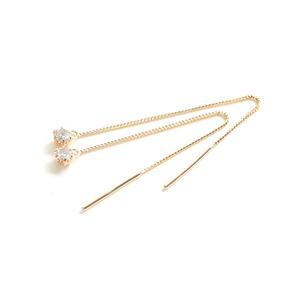 10金ピンクゴールド0.1ctダイヤモンドピアス ショートアメリカンチェーンピアス - 拡大画像