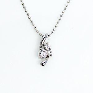 0.1ct 天然ダイヤモンド スリーストーン ペンダント ネックレス - 拡大画像