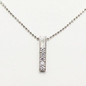0.1ct 天然ダイヤモンド ストレートライン スクエア ペンダント ネックレス - 拡大画像