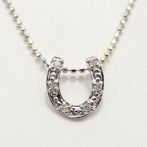 天然ダイヤモンド 6石ストーン ホースシュー 馬蹄 デザイン ペンダント ネックレス - 拡大画像