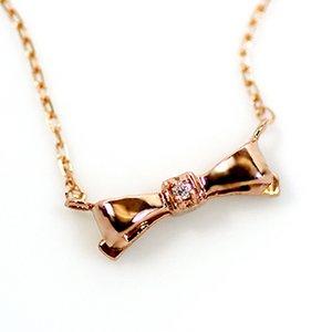 10金ピンクゴールド 天然ダイヤモンド プチ リボン ペンダント ネックレス - 拡大画像