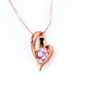 10金ピンクゴールド 天然ダイヤモンド ピンクトルマリン オープンハート デザイン ペンダント ネックレス - 拡大画像