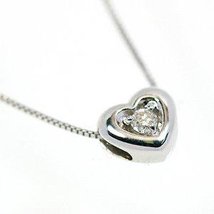 18金ホワイトゴールド 天然ダイヤモンド ぷっくりハート プチデザイン ペンダント ネックレス - 拡大画像