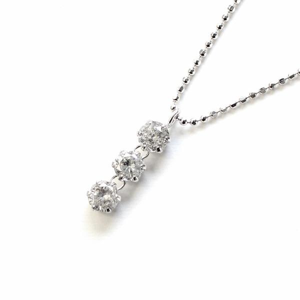 天然ダイヤモンド 0.5ct スリーストーンペンダント