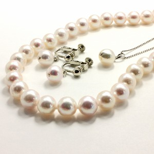 アコヤ本真珠 8.5-9.0mm珠 ネックレス&イヤリング&ペンダント 3点セット - 拡大画像