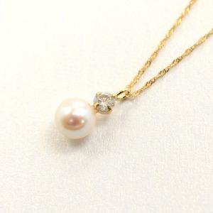 18金 イエローゴールド あこや真珠 ダイヤモンドペンダント/ネックレス - 拡大画像