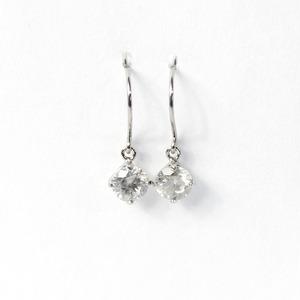 プラチナ900 0.45ct 1粒石 ダイヤモンドピアス フックピアス - 拡大画像