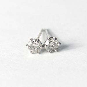 プラチナ900 0.45ct 1粒石 ダイヤモンドピアス スタッドピアス - 拡大画像