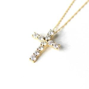 18金イエローゴールド 1ct ダイヤモンド クロスペンダント - 拡大画像