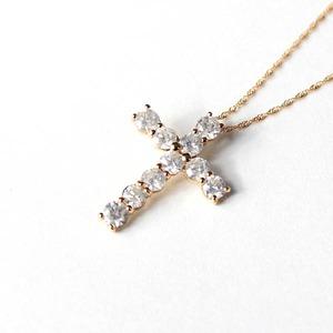 18金ピンクゴールド 1ct ダイヤモンド クロスペンダント - 拡大画像