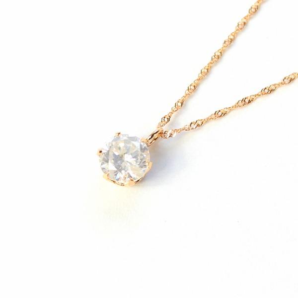 18金ピンクゴールド 0.5ct ダイヤモンドペンダント/ネックレス