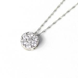 プラチナ SIクラス 0.3ct ダイヤモンド 7ストーン フラワー デザイン ペンダント ネックレス - 拡大画像