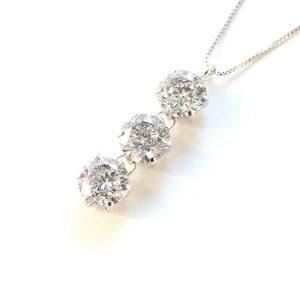 1.8ct プラチナ スリーストーン ダイヤモンド ペンダント ネックレス - 拡大画像