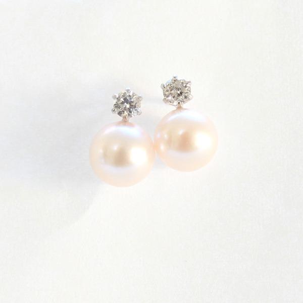 プラチナ 7mmあこや真珠 0.2ct 天然ダイヤモンドピアス パールピアス