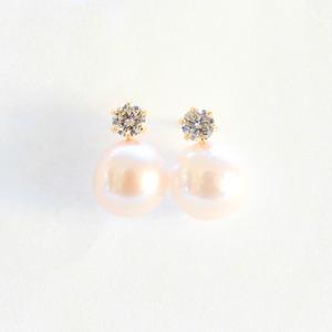 あこや真珠 0.2ct 天然ダイヤモンドピアス パールピアス 7mm 18金  - 拡大画像