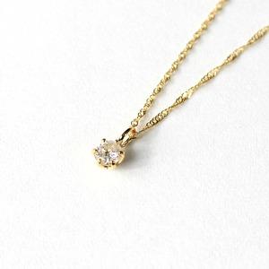 18金 イエローゴールド ダイヤモンド 0.1ct ペンダント ネックレス - 拡大画像